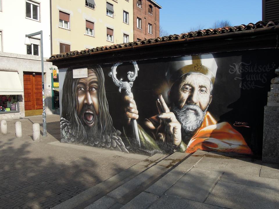 Murales di via San Pio IV - Attila e Sant'Ambrogio